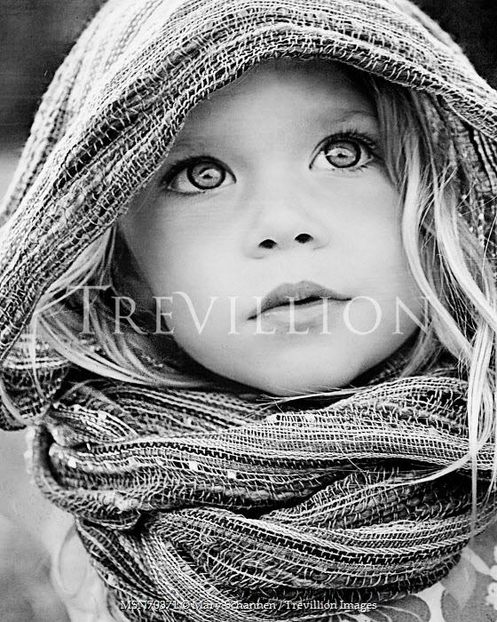 Mary Schannen LITTLE GIRL IN SCARF OUTDOORS Children