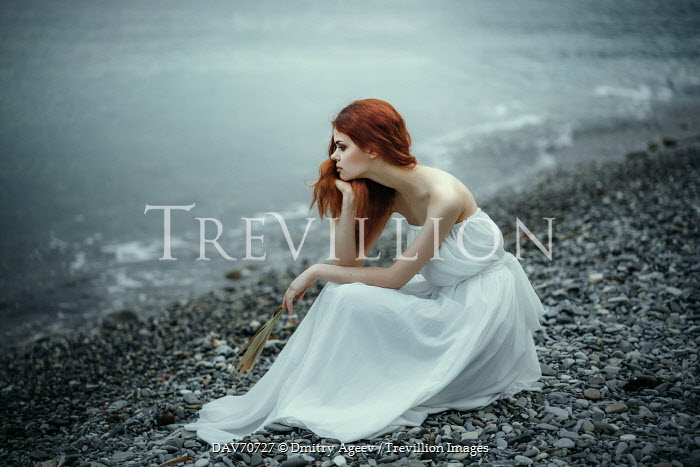 Dmitry Ageev RED HAIRED WOMAN ON PEBBLY BEACH Women