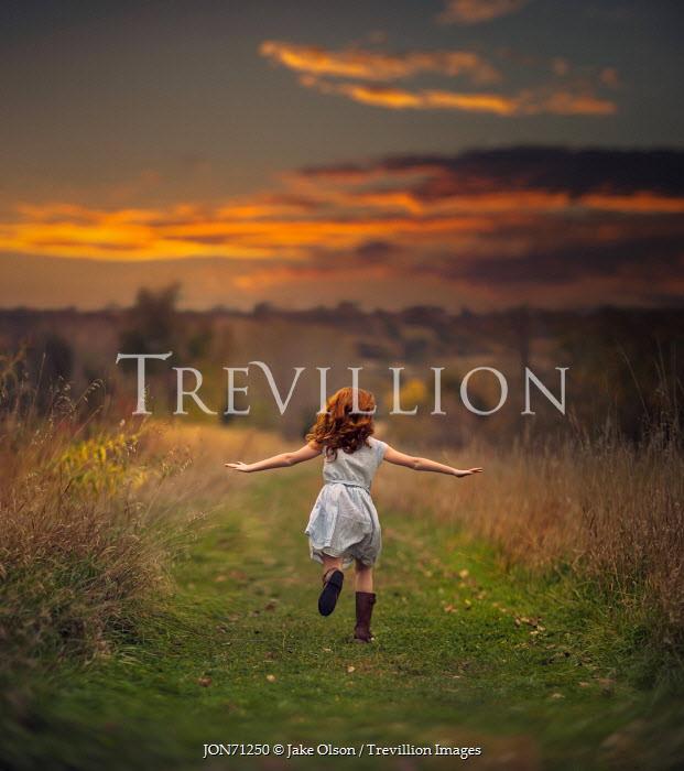 Jake Olson RED HAIRED GIRL RUNNING IN COUNTRYSIDE Children