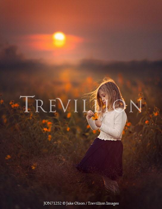 Jake Olson LITTLE GIRL IN FIELD AT SUNSET Children