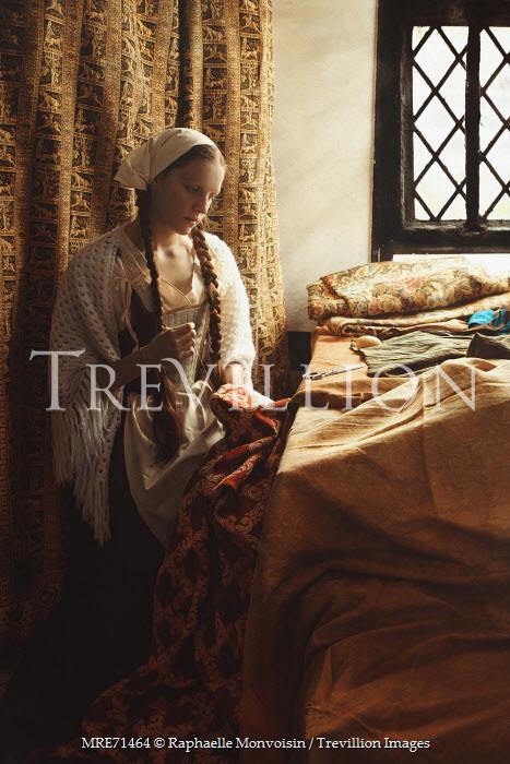 Raphaelle Monvoisin HISTORICAL SERVANT WOMAN SEWING FABRIC Women
