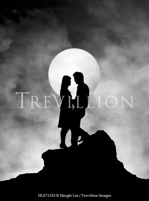 Hengki Lee SILHOUETTE OF COUPLE BY FULL MOON Couples