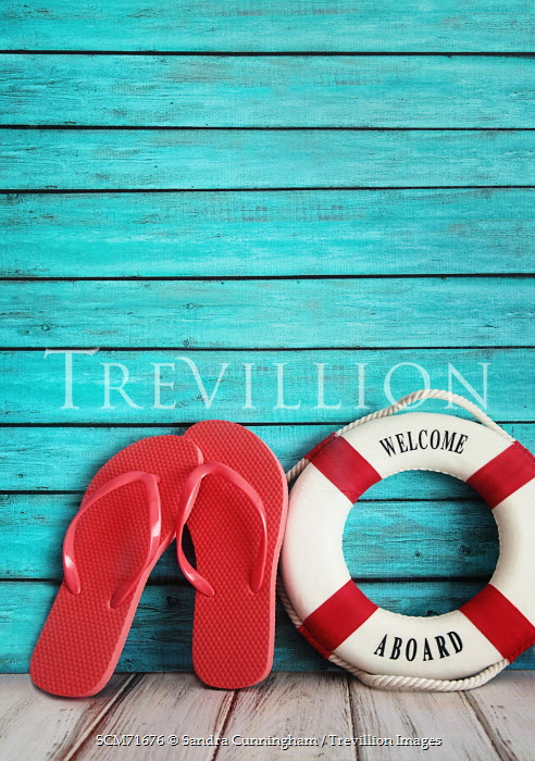 Sandra Cunningham RED FLIP FLOPS AND LIFE SAVER RING Miscellaneous Objects