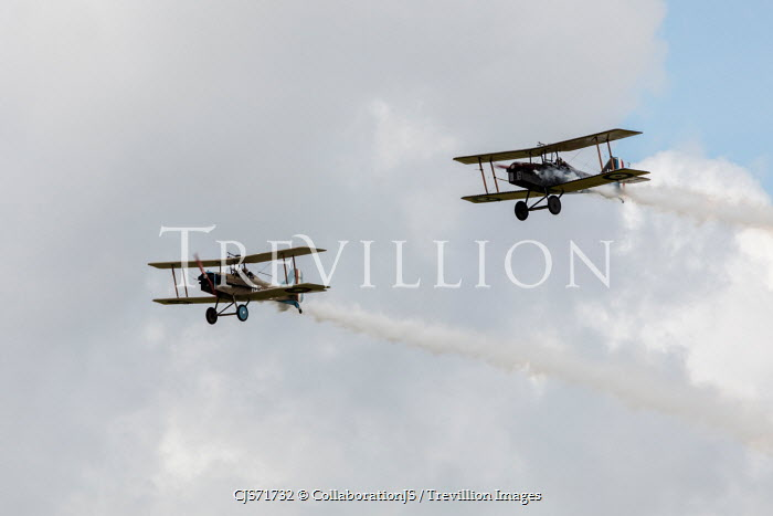 CollaborationJS TWO WWI AEROPLANES IN CLOUDY SKY Miscellaneous Transport