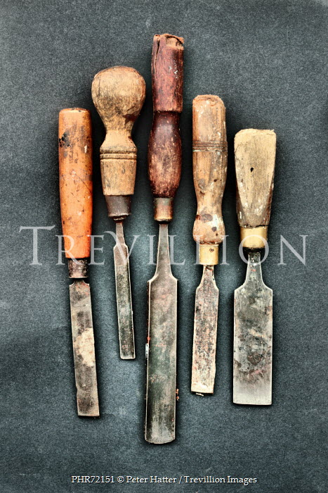 Peter Hatter FIVE OLD RUSTED CHISEL TOOLS Miscellaneous Objects