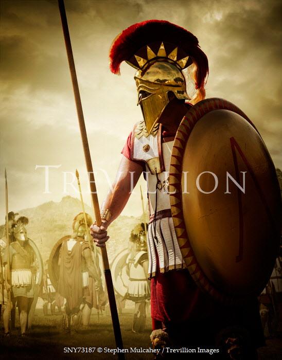 Stephen Mulcahey ancient spartan warrior on battlefield Men