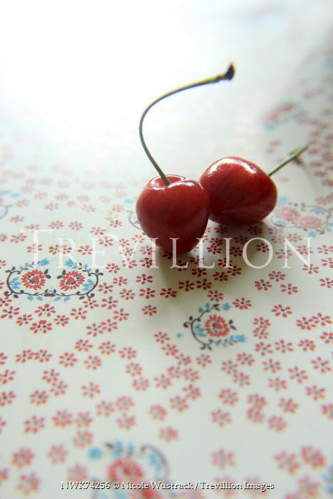 Nicole Wustrack TWO RED CHERRIES ON FLORAL SURFACE Miscellaneous Objects
