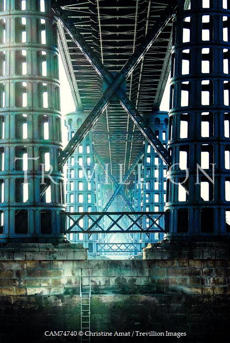 Christine Amat LADDER AND WALL UNDERNEATH LARGE INDUSTRIAL BRIDGE Bridges