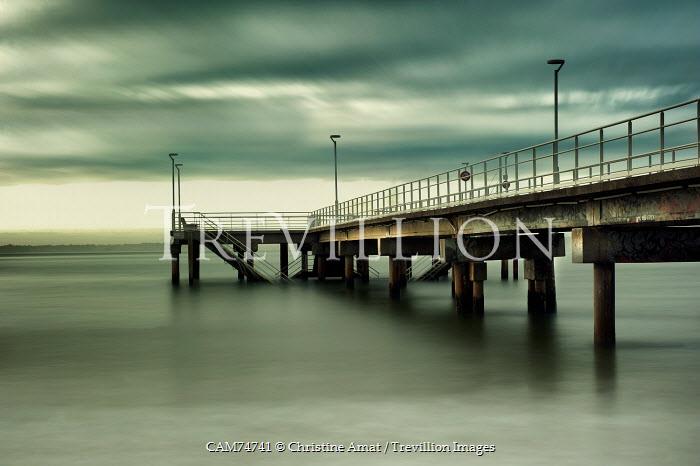 Christine Amat JETTY BRIDGE IN MISTY SEA Bridges