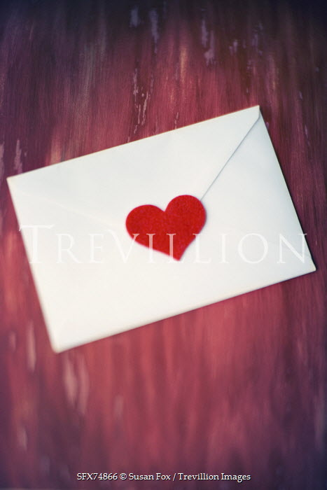 Susan Fox WHITE ENVELOPE SEALED WITH RED HEART Miscellaneous Objects