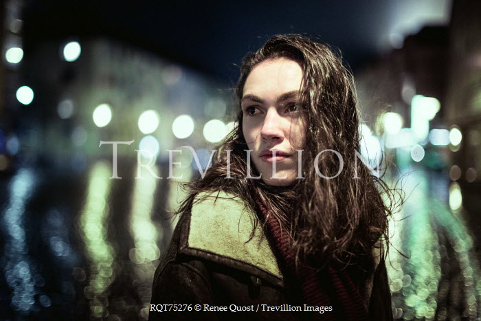 Renee Quost YOUNG BRUNETTE WOMAN IN CITY AT NIGHT Women