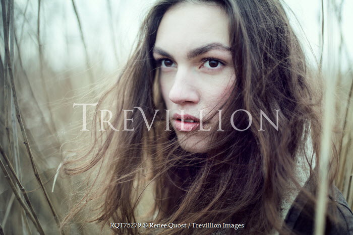 Renee Quost YOUNG BRUNETTE WOMAN IN WINTRY COUNTRYSIDE Women