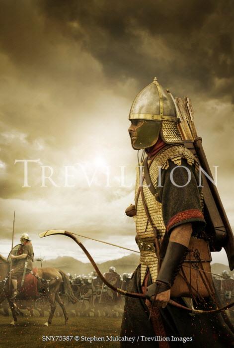Stephen Mulcahey ancient roman archer on battle field Groups/Crowds