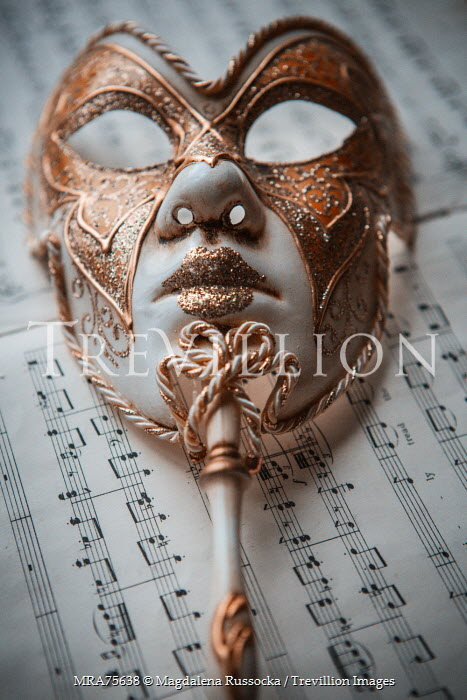 Magdalena Russocka ORNATE MASK ON SHEET MUSIC Miscellaneous Objects