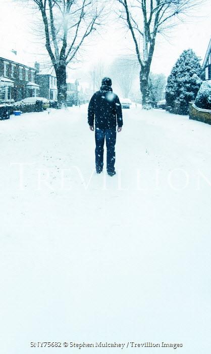 Stephen Mulcahey man standing in snowy suburban street Men
