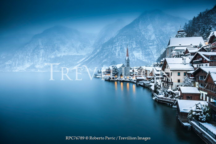 Roberto Pavic TOWN IN WINTER BY LAKE Specific Cities/Towns