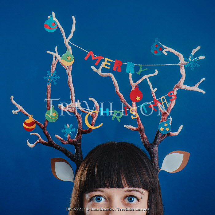 Dina Belenko SURREAL YOUNG WOMAN WITH CHRISTMAS ANTLERS Women