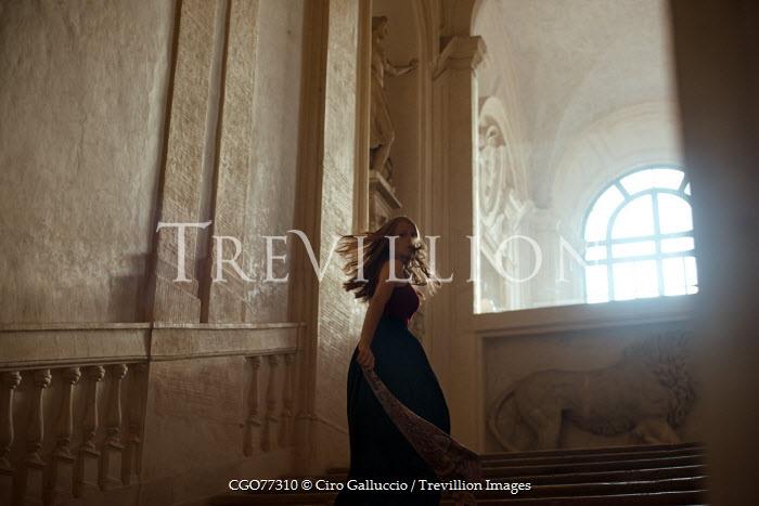 Ciro Galluccio YOUNG WOMAN ON GRAND MANSION STAIRCASE Women
