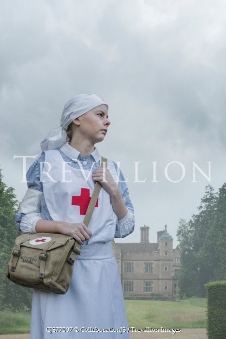 CollaborationJS young ww2 nurse by manor house Women
