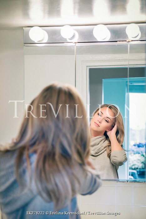 Evelina Kremsdorf YOUNG BLONDE WOMAN REFLECTED IN MIRROR Women