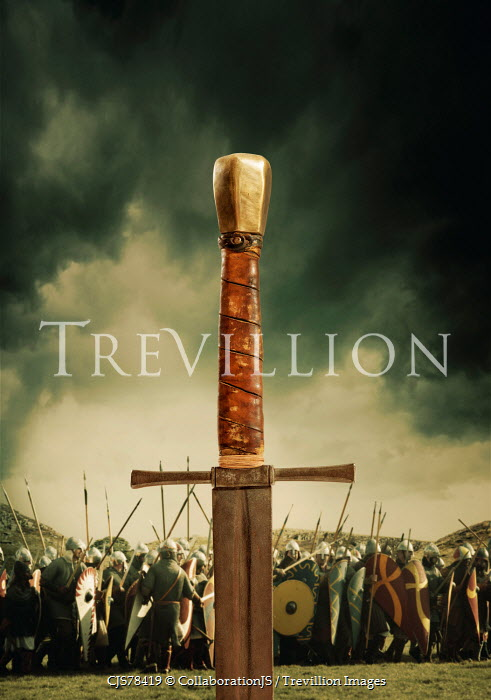 CollaborationJS Medieval sword on the battlefield Groups/Crowds