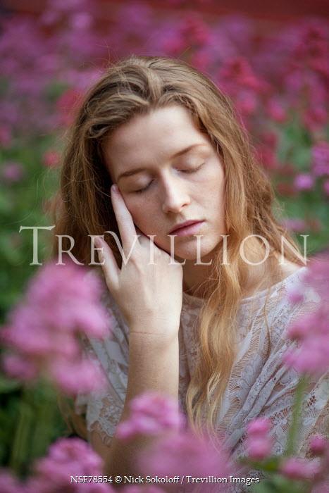 Nick Sokoloff YOUNG BLONDE WOMAN IN FLOWER FIELD Women
