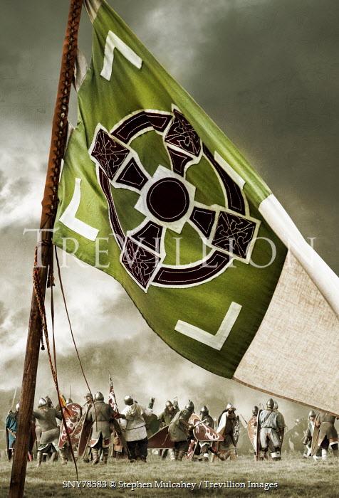 Stephen Mulcahey Army on battlefield behind medieval flag Groups/Crowds
