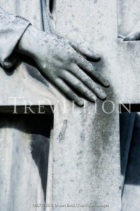 Stuart Brill TOMBSTONE DETAIL OF HAND ON CROSS Statuary/Gravestones