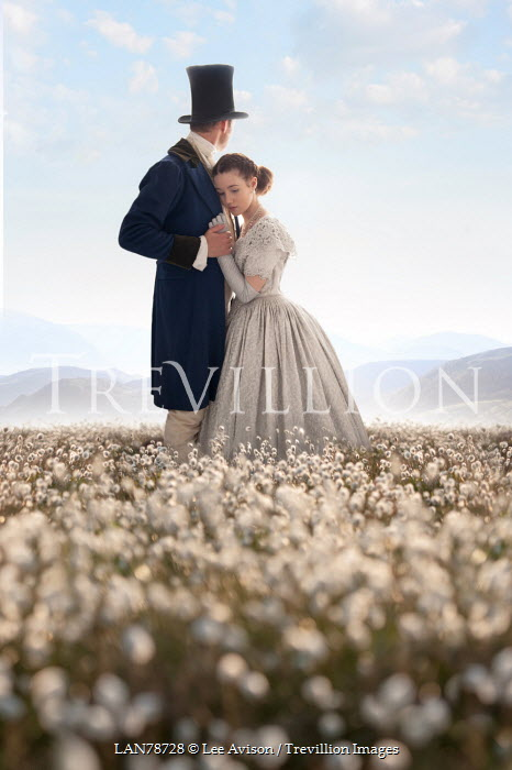 Lee Avison sad victorian couple standing in a beautiful meadow Couples