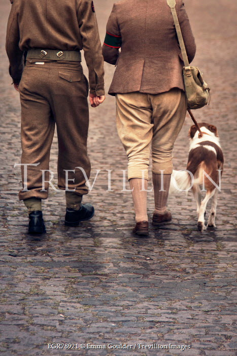 Emma Goulder 1940S WARTIME COUPLE WALKING WITH DOG Couples