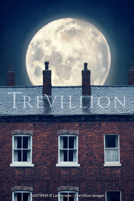 Lee Avison full moon over victorian terraced houses Houses