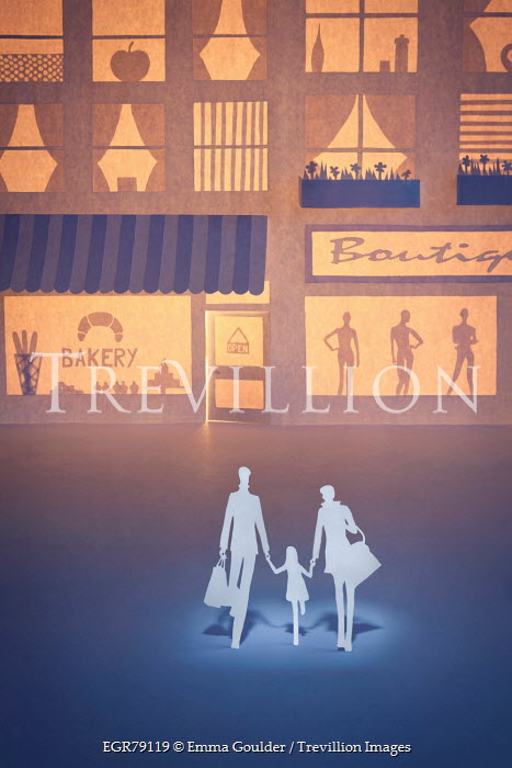 Emma Goulder PAPER CUT OUT OF FAMILY WALKING BY SHOPS Miscellaneous Objects