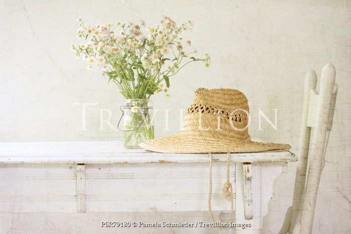 Pamela Schmieder JAR OF FLOWERS AND STRAW HAT ON TABLE Flowers