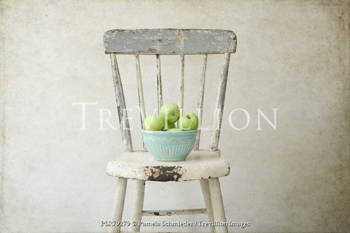Pamela Schmieder GREEN APPLES ON WHITE CHAIR Miscellaneous Objects