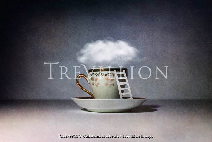 Catherine Macbride SURREAL CLOUD AND RAIN OVER TEACUP Miscellaneous Objects