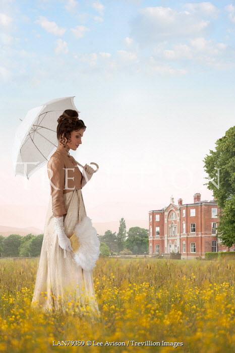 Lee Avison regency woman by manor house in buttercup meadow Women