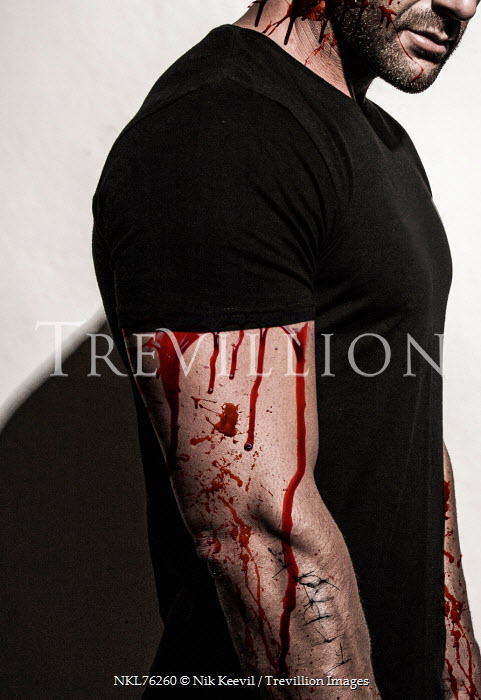 Nik Keevil man with blood dripping down arms Men