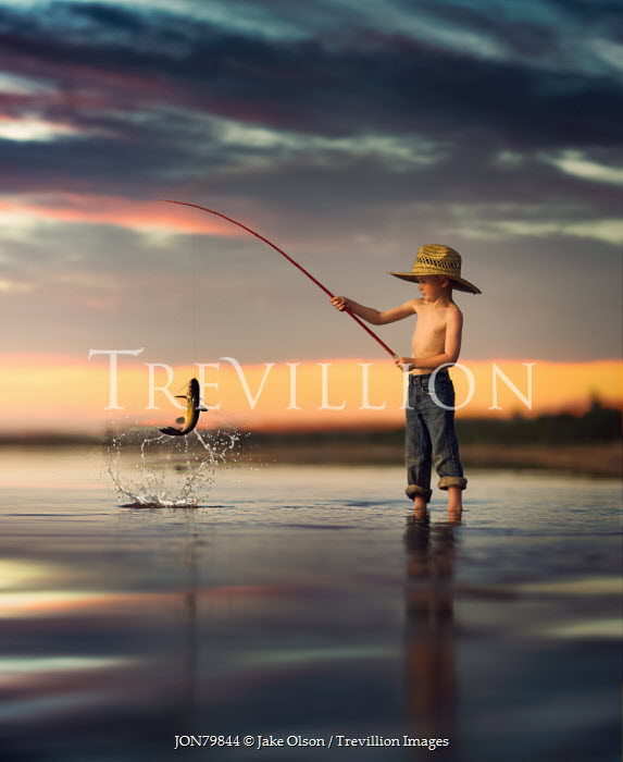 Jake Olson LITTLE BOY CATCHING FISH Children