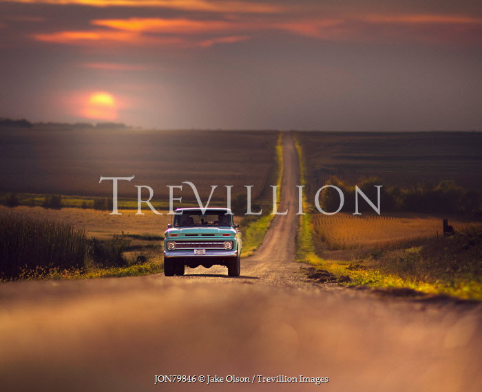 Jake Olson TRUCK ON COUNTRY ROAD AT SUNSET Cars