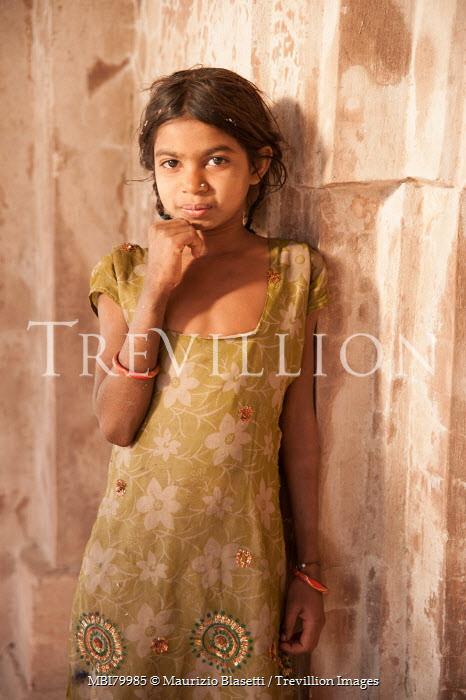Maurizio Blasetti LITTLE INDIAN GIRL IN GREEN DRESS Children