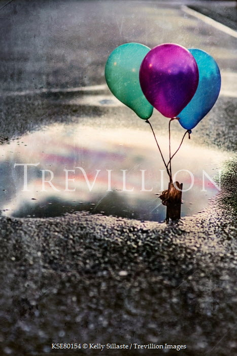 Kelly Sillaste COLOURFUL BALLOONS REFLECTED IN PUDDLE Miscellaneous Objects
