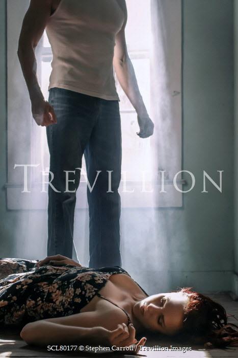 Stephen Carroll MAN STANDING OVER WOMAN LYING ON FLOOR Couples