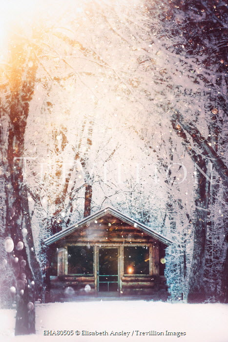 Elisabeth Ansley LOG CABIN BY SNOWY TREES Houses