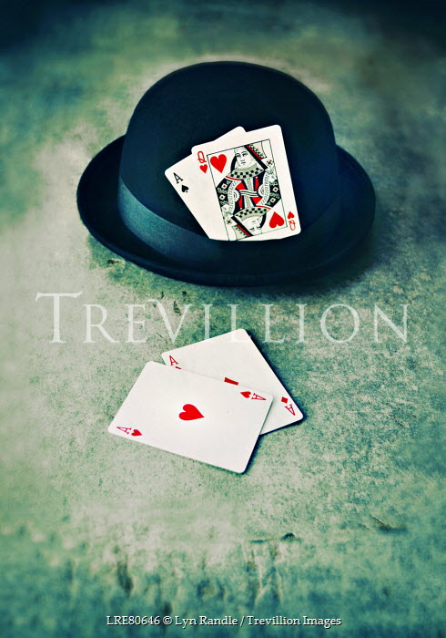 Lyn Randle PLAYING CARDS BESIDE BOWLER HAT Miscellaneous Objects