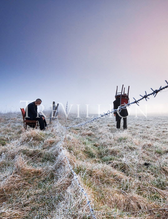 Leszek Paradowski TWO SURREAL MEN WITH CHAIRS IN FIELD Groups/Crowds