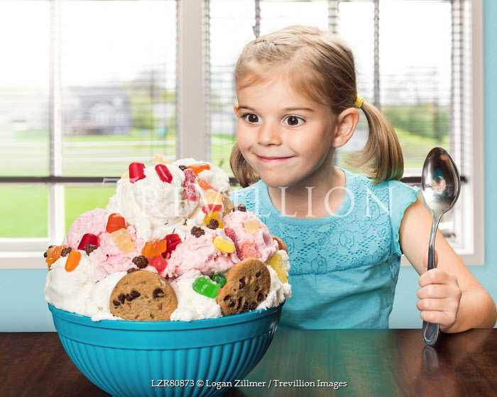Logan Zillmer LITTLE GIRL WITH LARGE BOWL OF ICE CREAM Children