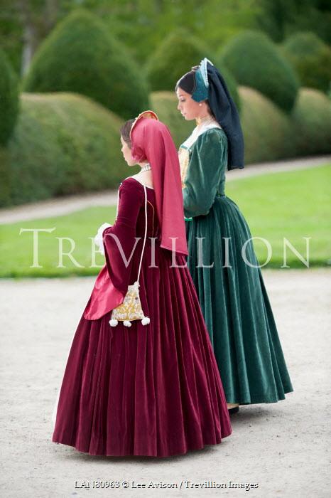 Lee Avison two tudor women walking in the garden Groups/Crowds