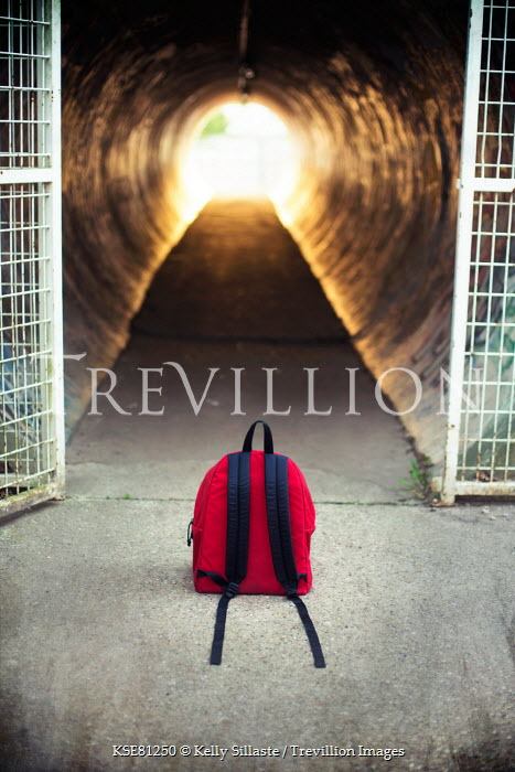 Kelly Sillaste RED BACKPACK LEFT OUTSIDE URBAN ALLEYWAY Miscellaneous Objects