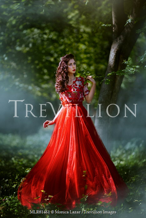 Monica Lazar WOMAN IN RED IN COUNTRYSIDE Women
