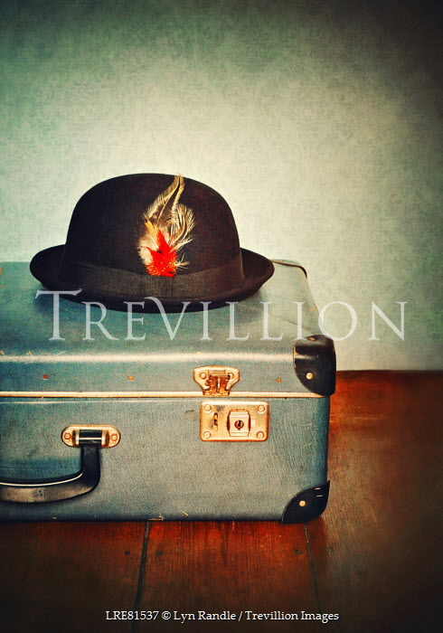 Lyn Randle BOWLER HAT WITH FEATHER ON TOP OF SUITCASE Miscellaneous Objects